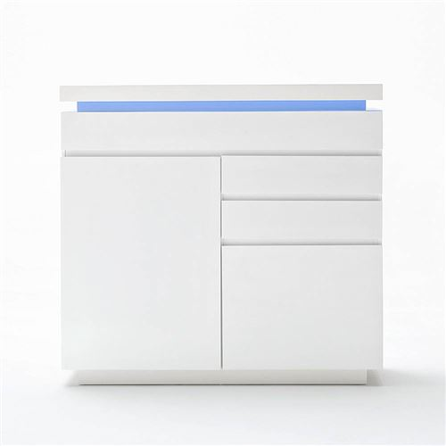 Buffet haut OCEAN laqué blanc brillant 2 portes 3 tiroirs LED inclus