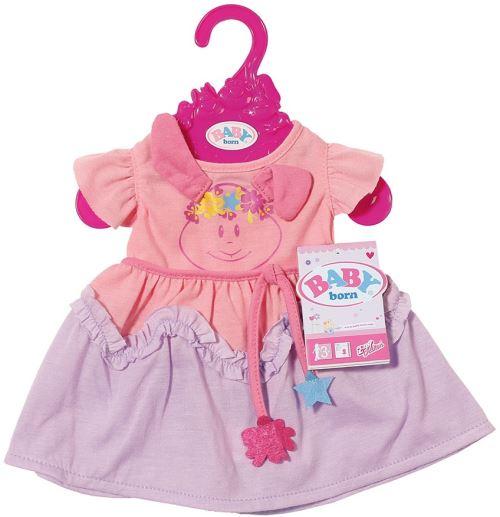 Robe rose et violette petit lapin baby born - 43 cm - habit poupee - zapf accessoire poupon
