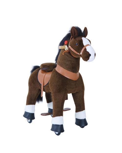 PonyCycle Poney à monter Brun chocolat avec sabot blanc Petit Modèle pour 3 à 5 ans