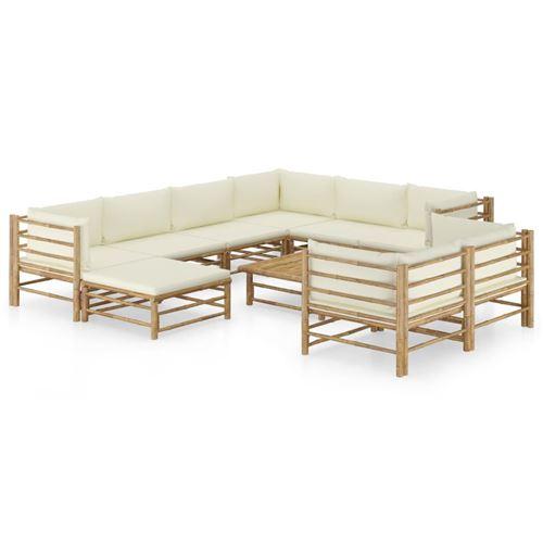 Salon de jardin 10 pcs avec coussins Bambou blanc crème