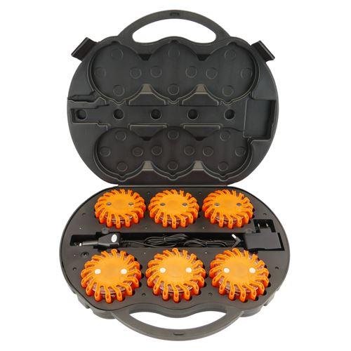 Gyrophare case 6 balises de signalisation LED orange IP67