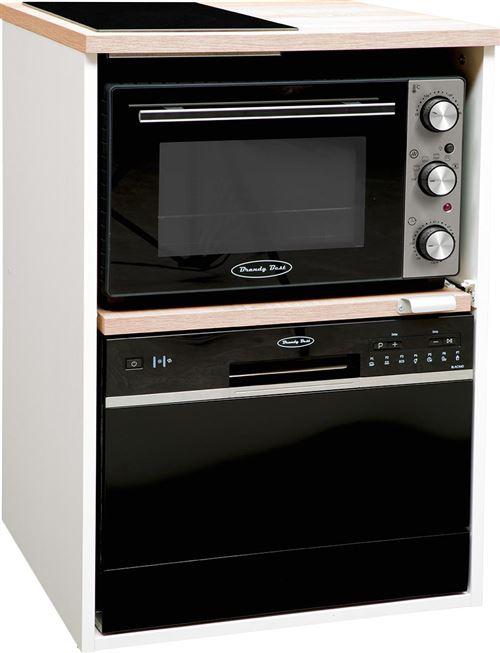Brandy Best TRIO60B-SV-N Trio chêne clair et blanc 60 cm, avec domino vitro, four, lave-vaisselle noir
