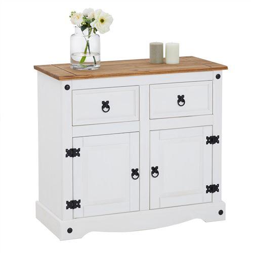 Buffet CAMPO commode bahut vaisselier en pin massif blanc et brun avec 2 tiroirs 2 portes meuble de rangement style mexicain en bois