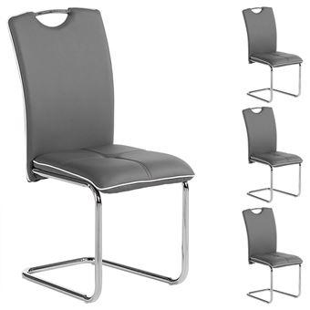 Lot de 4 chaises ELEONORA gris Achat & prix