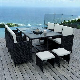 IMS Garden - 10 Places - Ensemble encastrable salon / table de jardin  résine tressée-Noir/Ecru Model TUNGA10