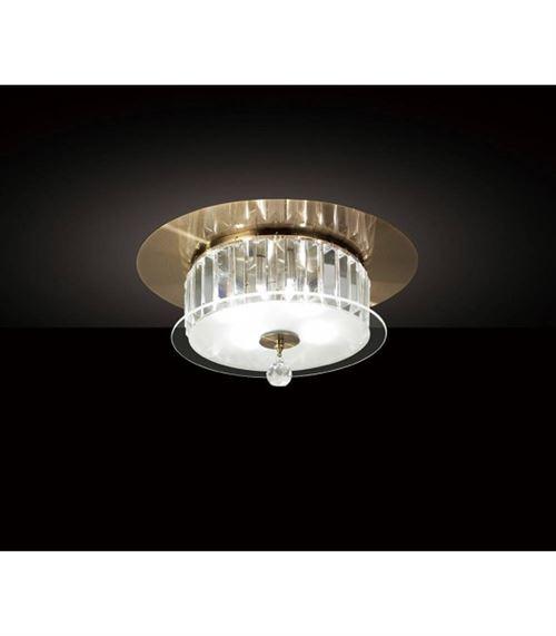 Plafonnier Tosca rond 4 Ampoules laiton antique/verre/cristal