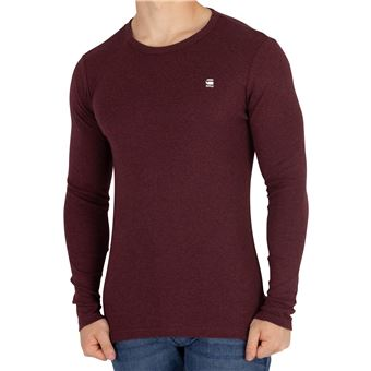 G Star Homme T shirt slim à manches longues aneth, Rouge