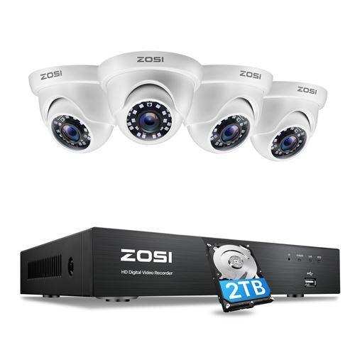 ZOSI 4K / 8MP Caméra de Surveillance avec 8CH 4K H.265+ Compression Vidéo DVR Enregistreur, Disque Dur de 2 to, Vision Nocturne de 20 Mètres, Alerte par Email, App Gratuite