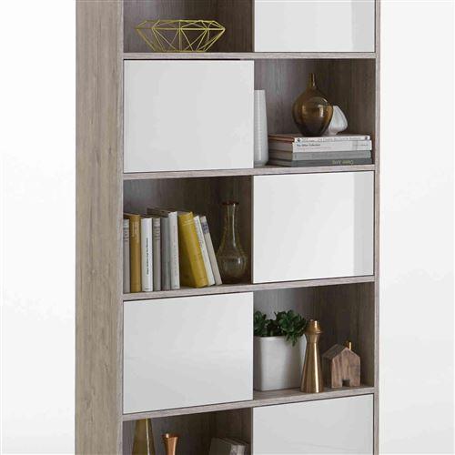 Bibliothèque 5 portes 5 cases en bois imitation chêne clair - BI13013