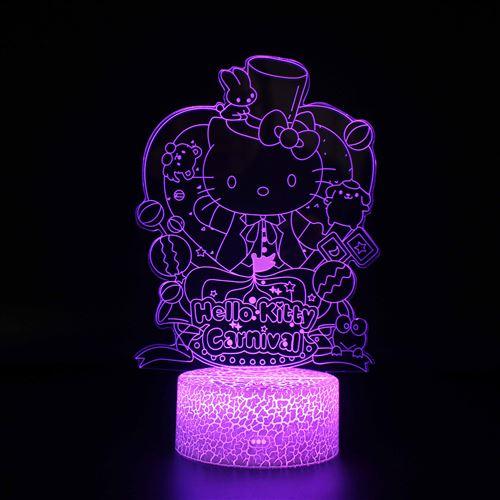 Lampe 3D Tactile Veilleuses Enfant 7 Couleurs avec Telecommande - Hello Kitty #593