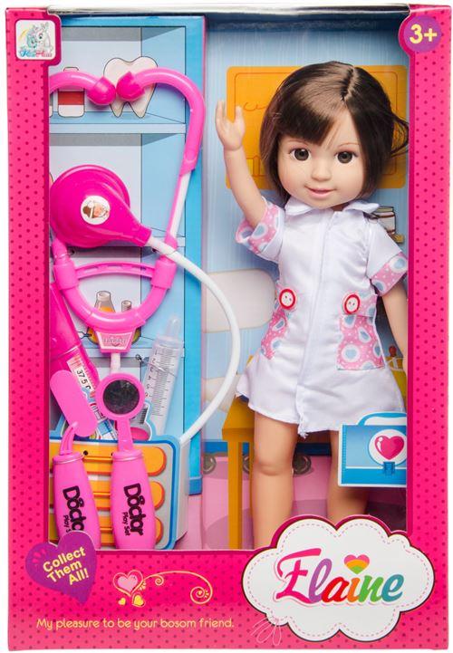 LG-Imports poupée adolescente docteur Elaine 35 cm rose