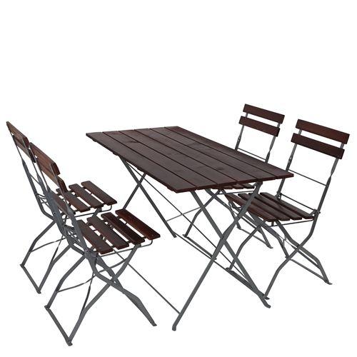 Salon de jardin/brasserie 1 table 4 chaises Berlin, pliable, bois huilé, 120x60x70cm ~ brun foncé