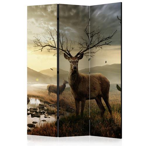 Paris Prix - Paravent 3 Volets deers By Mountain Stream 135x172cm