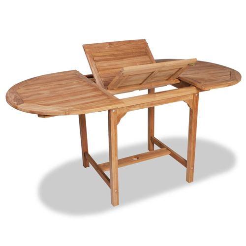 vidaXL Table extensible de jardin (110-160)x80x75 cm Teck solide