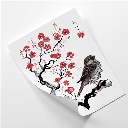 Feeby Image murale Poster décoratif Affiche moderne, Moineau sur ceriser japonais 70x100 cm