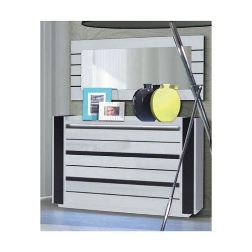 Commode LINA + LED blanche et noire brillante design. Commode pour chambre à coucher