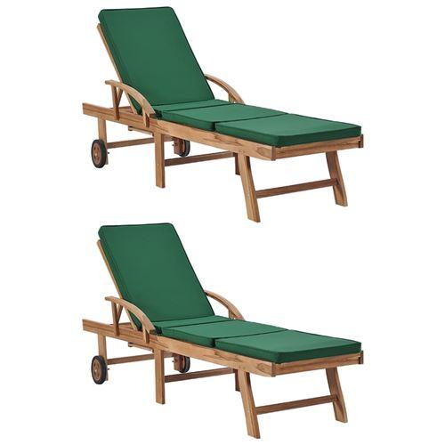 vidaXL Chaises longues avec coussins 2 pcs Bois de teck solide Vert