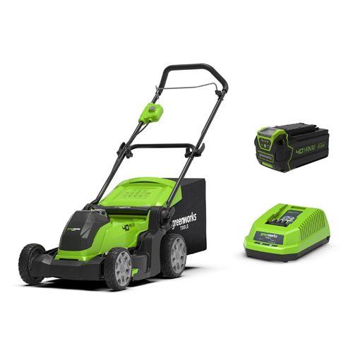 greenworks tondeuse électrique g40lm41k4 - 40 v - 41 cm - 1 batterie 4 ah + 1 chargeur - vert