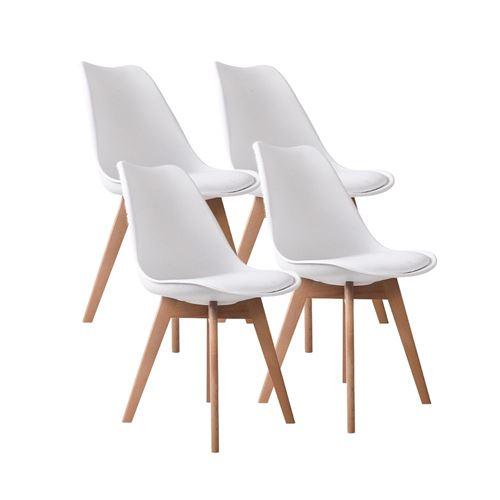 Lot de 4 chaises d'intérieur LAGOM blanc en bois H83cm