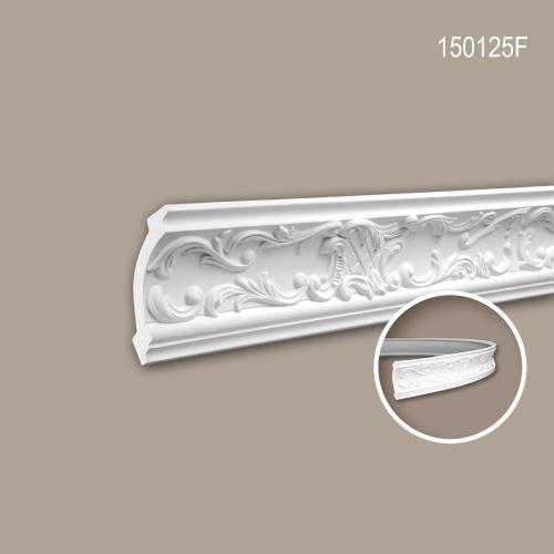 Corniche 150125F Profhome Moulure décorative flexible style Rococo-Baroque blanc 2 m
