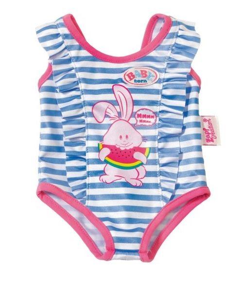 Habit poupee 43 cm : maillot de bain bleu avec lapin rose - zapf za31