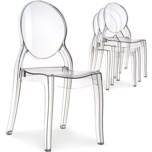 Lot de 20 chaises médaillon Diva Plexi Transparent