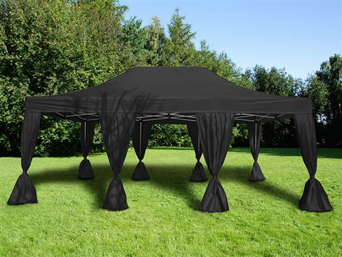 Tente pliante Chapiteau pliable Tonnelle pliante Barnum pliant FleXtents Steel 4x6m Noir, incl. 8 rideaux decoratifs