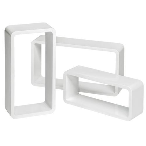 TecTake Lot de 3 étagères murales rectangle LEONIE - blanc