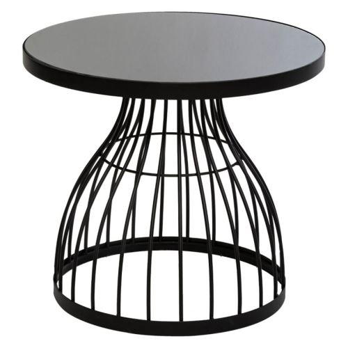 Table d'appoint coloris noir en verre - D. 55 x H. 48,5 cm -PEGANE-