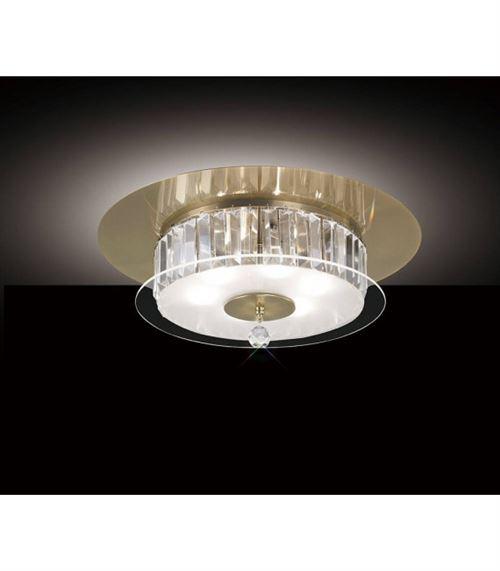 Plafonnier Tosca rond 6 Ampoules laiton antique/verre/cristal