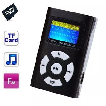 Lecteur MP3 16 Go - à carte mémoire - clip ceinture - Ecran LCD - Radio FM - Noir