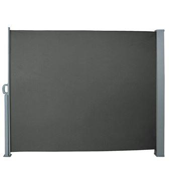Auvent Store Latéral Brise Vue Abri Paravent Soleil Aluminium Rétractable Hauteur 180 Cm Longueur 300 Cm Gris
