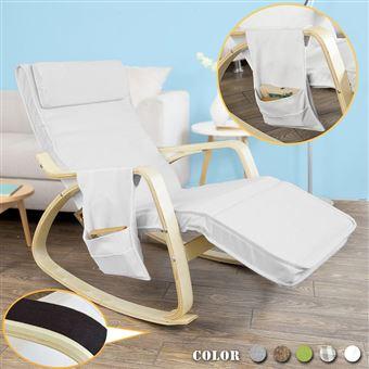 Sobuy Fst18 W Eponge Plus Epais Fauteuil A Bascule Rocking Chair