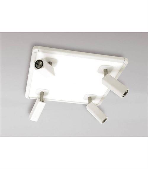 Plafonnier Ibiza Ampoules 4 Head avec Backlit Ampoules 4x5W+20W LED carré blanc, 3000lm, 4000K