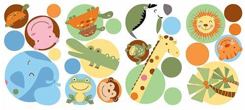 RoomMates stickers muraux zoo points vinyle 24 pièces