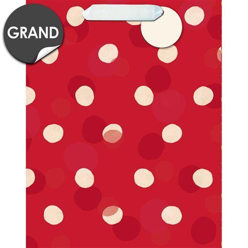 Draeger la carterie Sac cadeau grand format Pois blanc sur rouge Multicolore
