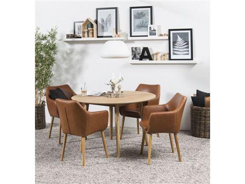 BOBOCHIC Table à manger 120 cm NAGANE en chêne massif et plaqué