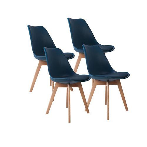 Lot de 4 chaises d'intérieur LAGOM bleu en bois H83cm