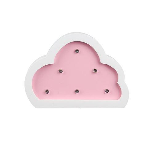 Veilleuse en forme de nuage - Bois - Rose
