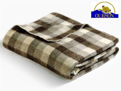 Couverture laine bio ourson 400 gr carreaux marron 180x220