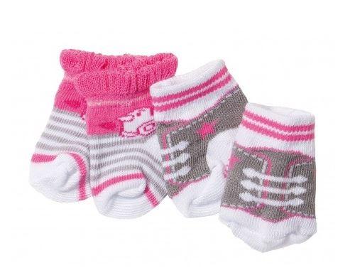 2 paires de chaussettes baby born gris + blanche - zapf creation - accessoire poupon ref:405