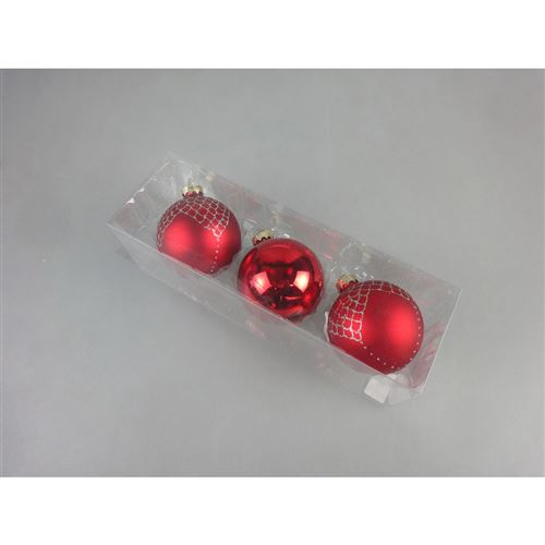 3 Boules de Noël Verre - Diam. 80 mm - Rouge