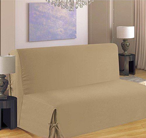 Homemaison HM69516-50 Clic Clac Housse de Canapé à Nouette Polyester Sable 37 x 26 cm