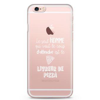 Coque iPhone 6 plus 6s Le seul homme qui vaut le coup est le livreur de pizza Souple Transparente Encre Blanc