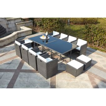 Le Vito : Salon Jardin Gris Encastrable En Résine 12 Personnes ...