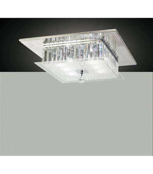Plafonnier Tosca carré 6 Ampoules chrome poli/verre/cristal