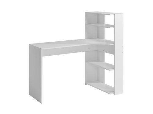 Bureau d'angle DELFINO - 4 étagères - Blanc