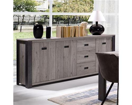 Bahut 225 cm contemporain couleur chêne gris PIETRO - L 225 x P 50 x H 95 cm