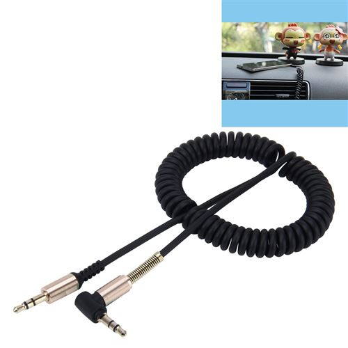 (#1) 3.5mm 3-pole Male to Male Plug Audio AUX Retractable Coiled Cable, Length: 1.5m(Black)