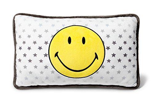 NICI 40725 – Coussin Smiley Jaune/étoiles rectangulaire 43 x 25 cm